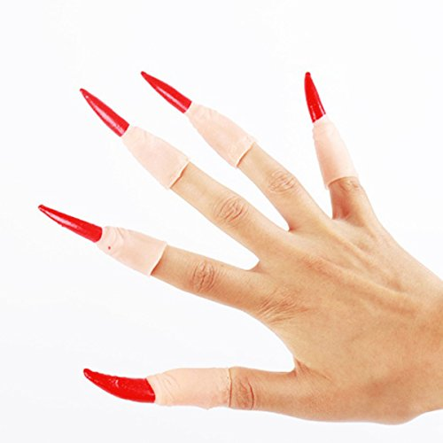 BESTOYARD 10 stücke Hexe Fingernagel Krallen Halloween Maskerade Fingernägel Trick Requisiten für Cosplay Kostüm Party (Roter ()