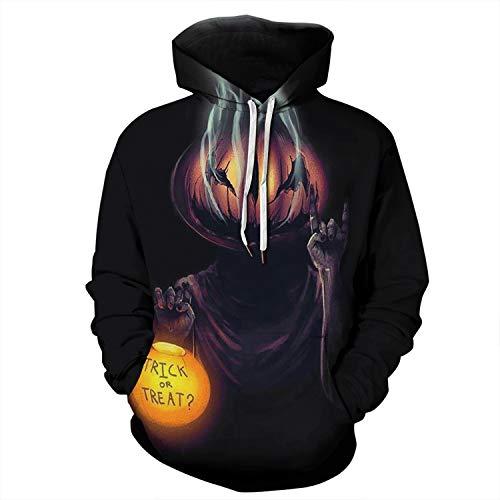 Jumper Jack Kostüm - WANLN Furchterregendes Kostüm-Halloween-Männer der Unisexmode 3D, die Jack Lantern Spielen, trägt Hoodie-Sweatshirt zur Schau,Schwarz,XL