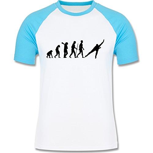 Shirtracer Evolution - Eisschnelllauf Evolution - Herren Baseball Shirt Weiß/Türkis