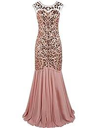 bec63263bf8 PrettyGuide Women s 1920s Black Sequin Gatsby Floor Length Evening Prom  Dress