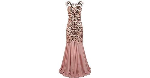 15adb548ca PrettyGuide Women  s 1920s Black Sequin Gatsby Floor Length Evening Prom  Dress