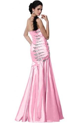 Sunvary One, sirena tracolla stile abito da sera lungo raso con perline Rosa