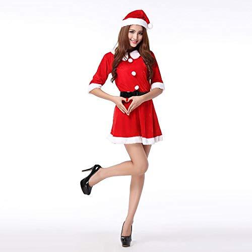 SPFAZJ Santa Anzug Kostüm Neue Weihnachten Kleid Erwachsene Weihnachten Kleid Lady Weihnachten Kleid Santa Kleider Weihnachten - Lady Santa Kleid Für Erwachsene Kostüm