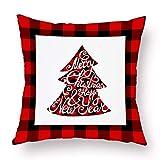 dfhdrtj particular Merry Christmas Elk Christmas Tree Snowflake Plaid Pillow Covers Holiday Sofa Throw Cushion Case Xmas Decor(None 1245 * 45CM)