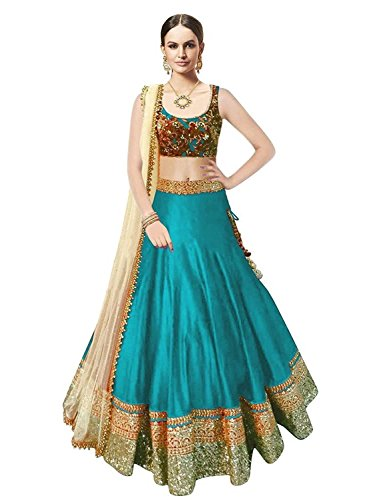 Market Magic world Woman\'s Firozi Banglori Silk Anarkali Semi-stitched Lehenga Choli (Indian Traditional Ghaghra Choli)