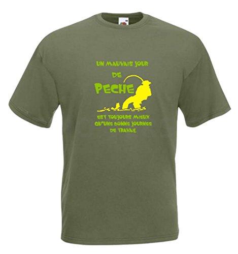 Tee-shirt pêche (L, Vert Anis)