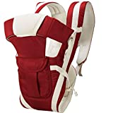 MSSSP Adjustable Hands Free 4 in 1 Baby and Kids Sling Carrier Bag with Safety Belt Strip (Cherry Red)