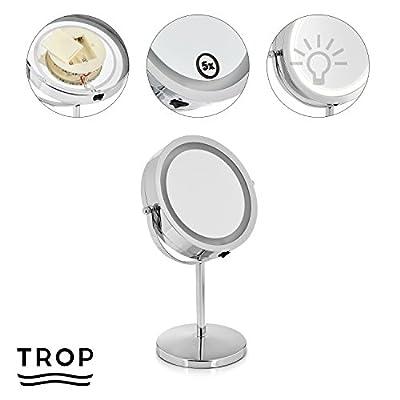 TROP Premium Kosmetik-Spiegel mit LED Beleuchtung und 5x Vergrößerung - - Make-Up Spiegel / Rasier-Spiegel / Reise-Spiegel / Illuminated Cosmetic Mirror / Make-up Mirror - mit 2 Jahren Geld-zurück-Garantie