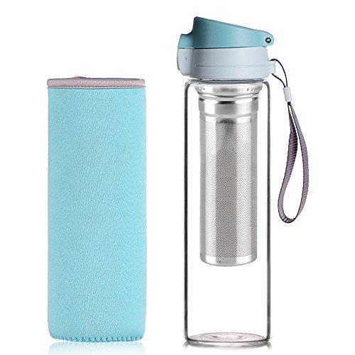 Reeho Tragbare 510ml Sportflasche Trinkflasche aus Glas, BPA-frei Wasserflasche Glas, Borosilikat Glasflasche Mit Nylon Tasche, Flaschen für Wandern, Fitnessstudio, Laufen (Blau 2, 510ml)