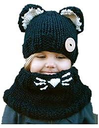 REIA Sombrero de los niños Sombreros cálidos de Invierno Suave Linda Forma  de Gato Gorra y Bufanda Niños pequeños Juego de Dos… bf15c35bcc0