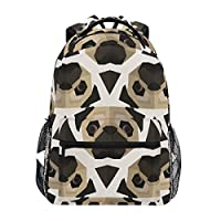 Polygonal Pattern with Pug Head Backpack School Bag Travel Daypack Rucksack for Students Boys Girls, Laptop Backpack