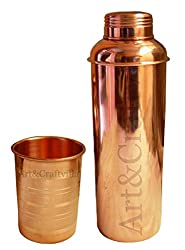 Artandcraftvilla Handmade Copper Water Bottle 800 ML with 1 Copper Glass 300 ML - Storage Drink Water Yoga Bottle Gift Item
