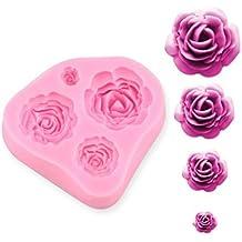 Ewin24 4 Tamaño flor de las rosas torta del silicón Molde chocolate Sugarcraft que adorna Fondant Fimo Herramienta Regalo