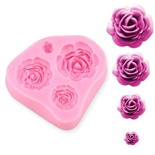 4 Größe Rose-Blumen-Silikon-Kuchen-Form Sugarcraft Fondant-Schokolade Fimo-Werkzeug-Geschenk