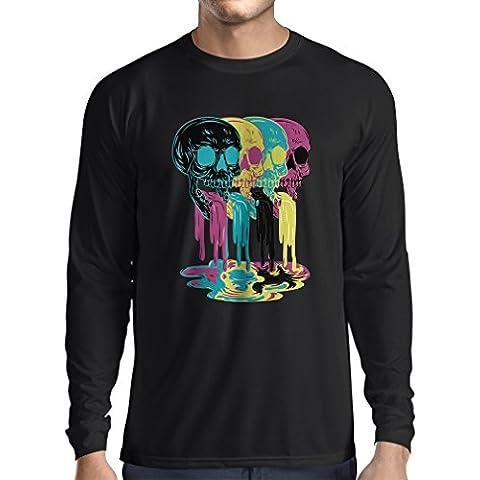 T-shirt manica lunga da uomo Colored skulls idea regalo