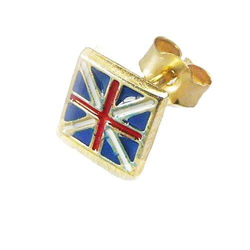 Herren 9ct Gelb Gold Union Jack Einzel-Ohrstecker-Für Ihre Patriotische Mann (Patriotische Ohrringe)