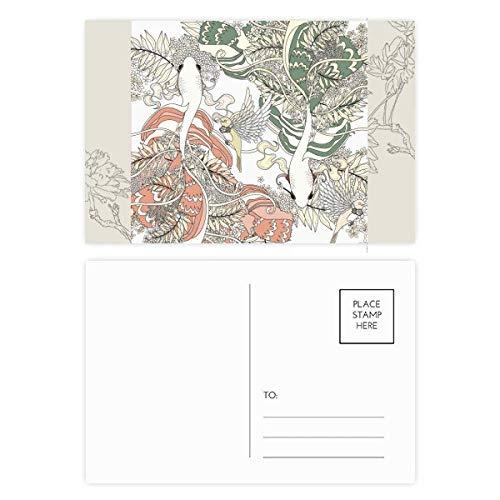 DIYthinker Ukiyo-E del ala carpa Bird Japón Postal de la flor Conjunto de tarjeta de correo Gracias lateral 20Pcs 5,7 pulgadas x 3,8 pulgadas Multicolor
