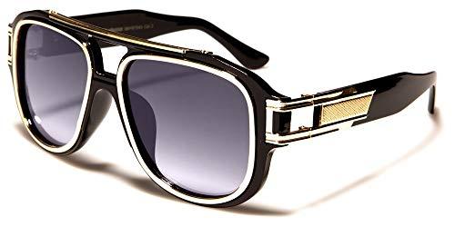 Herren Flat Top Sonnenbrille 80er 90er Jahre oversized Trap Style BS71 (Mod.2: Schwarz/Gold)