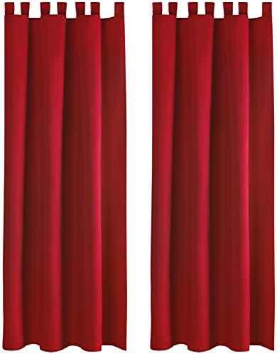 hte Gardine im 2er Pack mit Schlaufen (140x145 cm/Rot), in vielen Farben ()
