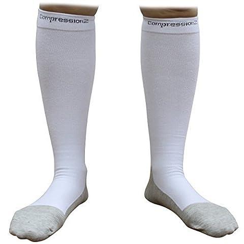 Compression Socks (1 Pair - White M) 20-30mmHg Graduated - Best For Running, Athletic Sports, Crossfit, Flight Travel (Men & Women) - Suits Nurses, Maternity Pregnancy, Shin Splints CompressionZ