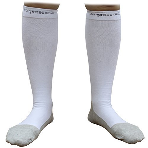 Compression Socks (1 Pair - White M) 20-30mmHg Graduated - Best For Running, Athletic Sports, Crossfit, Flight Travel (Men & Women) - Suits Nurses, Maternity Pregnancy, Shin Splints CompressionZ