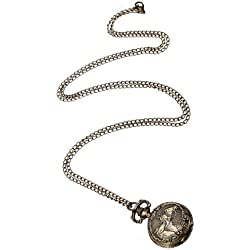 Gleader Bronze 3 Horse Engrave Quartz Pocket Watch Necklace