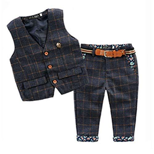 ARAUS Baby Anzug Jungen Kleidung Set Weste + Hosen mit Gürtel 1-5 Jahre -