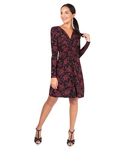 KRISP® Umstandsmode Knoten Kleid Langarm Gerafft Gebunden Weinrot (5285)
