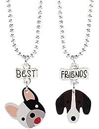 719e6a7efe2c JMZDAW Collar colgante 2 Piezas Conjunto De Mejores Amigos Lindo Perro  Niños Colgante Collar Collar
