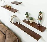 INMAN HOME in Legno Massiccio in Legno Quercia scaffale per Parete mensola da Parete Appeso visualizzazione scaffale libreria Picture Ledge Rack, Noce, 365 cm ca.