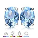JewelryPalace Pendientes oval con Topacio azul en plata de ley...