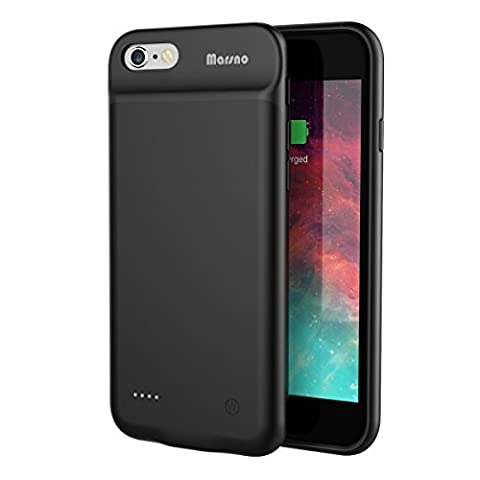 Marsno Akku Hülle für iPhone 6/6S (4.7 Zoll) mit 3000 mAh Ultra Dünne Extended Kapazität Smart Battery Case Extra Batterie Hülle (Schwarz)