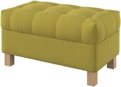 Furninero 80 cm breit, Geknöpfter gepolsterter Sitzbank Sitzhocker Sitzruhe Betthocker Ottomane mit Stauraum quadratische Beine, Softi Dark Yellow