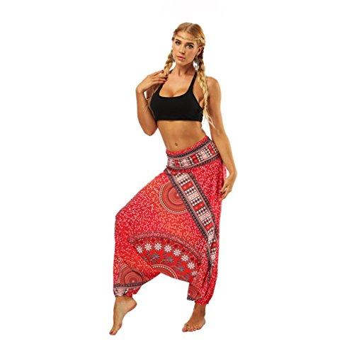Mujer Pantalón étnica Aladin Harén Pant Aladdin Hippie Yoga Pantalones Bombachos de Yoga Muy Cómodos y de Corte Profundo como Ropa Hippie y Pantalones cagados Pantalones (Rojo4)