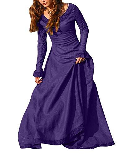 PengGengA Damen Renaissance Mittelalterlichen Korsett Kleid Maxi Party Halloween Kostüm Violett 2XL