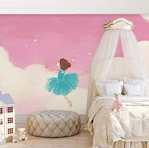 3D Vliesstoff Wallpaper Umweltfreundliche Vlies 3D Liebe Kinderzimmer Tapete Mädchen Schlafzimmer Rosa Wandbild Prinzessin Nacht Hintergrundbild, 400Cm * 280Cm