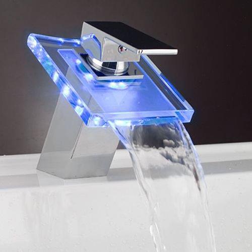 Auralum Wasserhahn Mit Chrom Glas RGB LED Licht Temperatur Waschtisch Wasserfall Armatur -