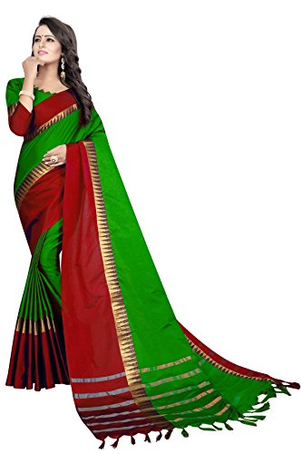 PerfectBlue Cotton Silk Saree With Blouse Piece (Lightgreenredtample_Light Green Red_Free Size)
