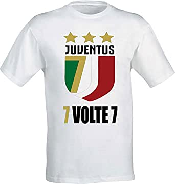 T-Shirt Celebrativa Juventus Scudetto 2018 7 Volte 7 - Tifosi Uomo Donna Bambino (S-Donna TG.38-40)