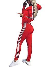 4bc7b230c3b31 Tomwell Mujeres 2 Piezas Set Chándales Sudadera con Capucha Manga Larga  Deportivos Chaqueta Pantalones Monos Jumpsuit