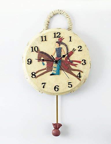 ZLL Wand-dekorative Uhr, Wanduhr zu Hause, indische Trommel Polyresin Wanduhr mit Pendel, Wohnzimmeruhr