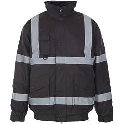 Jaqueta de trabajo MyShoeStore®, de alta visibilidad, con capucha, talla S a 4XL Negro negro Small