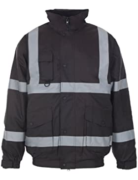 MYSHOESTORE® Hi Vis Viz alta visibilidad ropa de trabajo Bomber chaqueta para hombre desgaste impermeable acolchado...