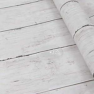 Holz Folie Selbstklebend Weiß 45X300cm Abnehmbare Dekorative Tapeten Für Wände, Türen, Möbel, Holzeffekt Wasserdicht, Leicht zu Reinigen