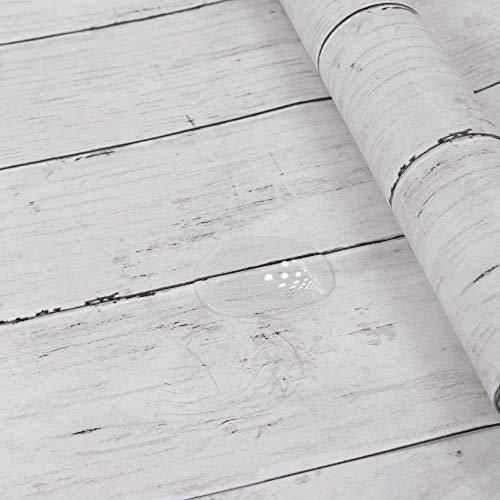 Holz Folie Selbstklebend Weiß Abnehmbare Dekorative Tapeten für Wände Türen Möbel, Holzmaserung, 45X300cm Leicht zu Reinigen