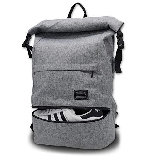 Sac à dos pour ordinateur portable Roll Top, sac à dos de voyage ITSHINY Sac à dos antivol pour ordinateur portable Sac d'école résistant à l'eau Sac de jour léger pour Homme et Femme 15,6 Pouces Gris