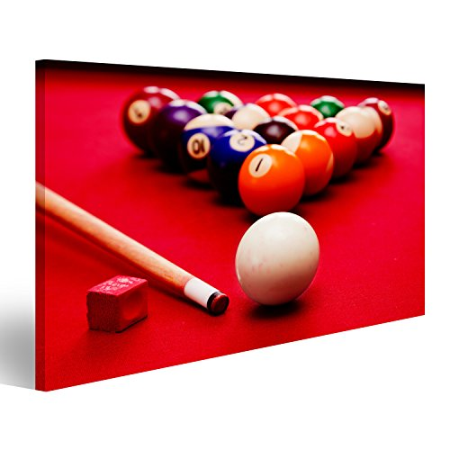 bilderfelix® Billards Pool Spiel. Cue Ball, Cue, Farbkugeln im Dreieck, Kreide. Roter Tuch Ti Wandbild Leinwandbild Poster DDN -