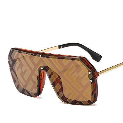 HUWAIYUNDONG Sonnenbrillen,Hip-Hop Übertrieben Großen Rahmen Verbunden Rahmenlose Männer Frauen Briefe Linsen Mode Sonnenbrillen Tea Frame Braun