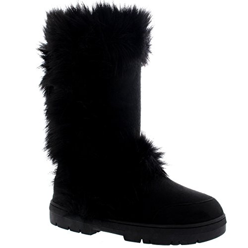 Damen Lange Fellschnitt Pelz Gefüttert Wasserdicht Winter Schnee Regen Sitefel Schwarz