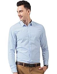 LINNUO Hombre Camisa Manga Larga Slim Fit Camisa de Traje con Gemelos EvBAncB